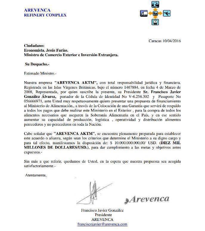 CARTA A MINISTERIO DE COMERCIO